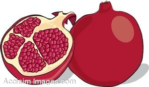 Clip Art of a Cut Pomegranate.