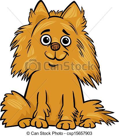 Vector Clipart of Pomeranian dog cartoon illustration.