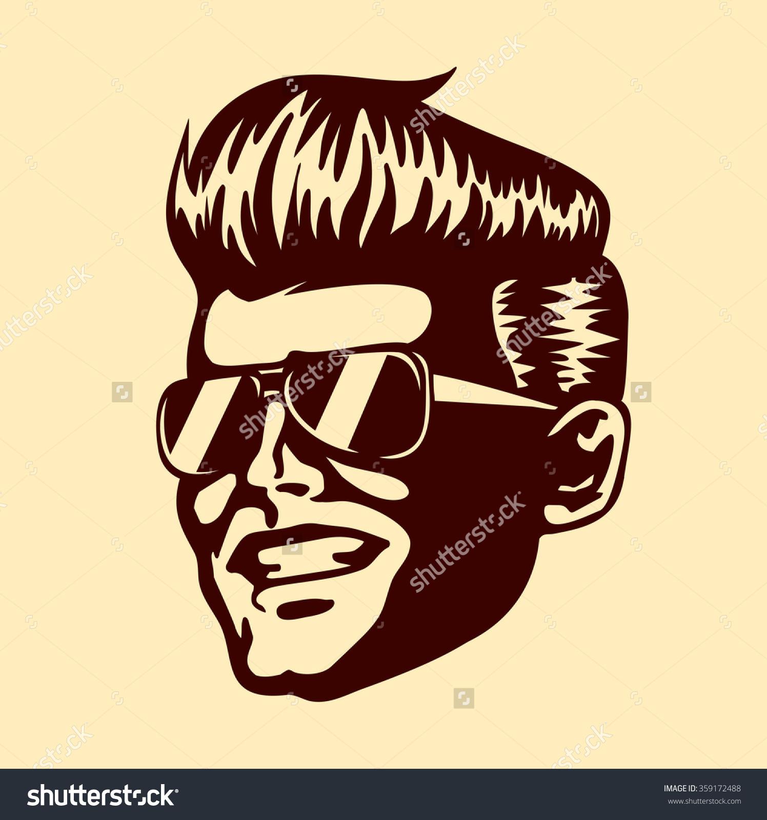 Vintage Retro Cool Dude Man Face Stock Vector 359172488.