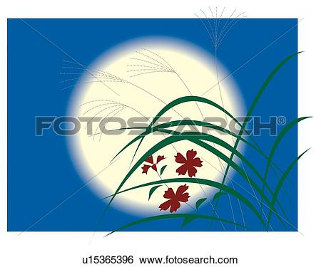 Stock Illustration of Pampas grasses and full moon.
