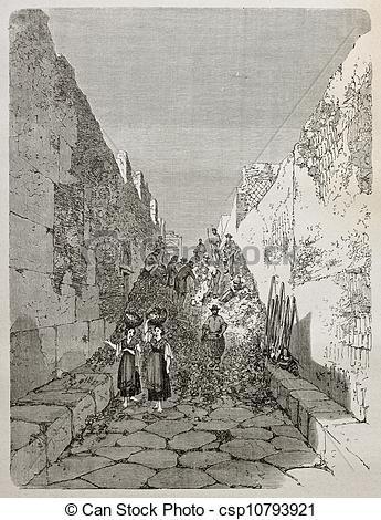 Clip Art of Pompeii excavation work.