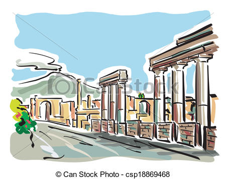 Clip Art Vector of Pompeii.