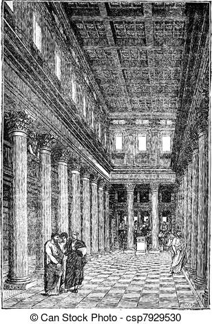 Vector Clipart of Interior of the basilica of Pompeii vintage.