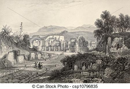 Drawings of Pompeii theater.