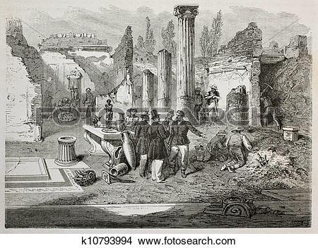 Drawings of Pompeii excavation k10793994.