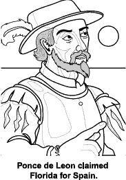 Ponce De Leon Black & White Clip art.