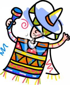 Mexican Poncho Clip Art.