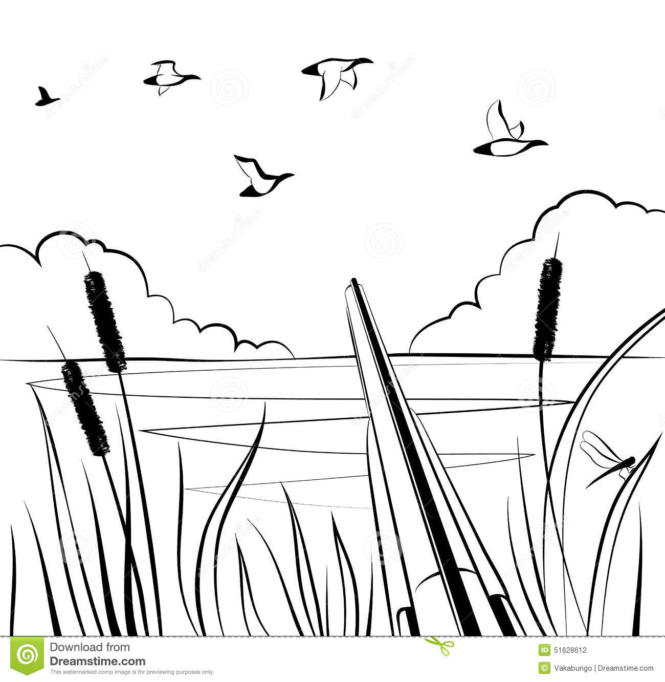 Black And White Pond Clipart.