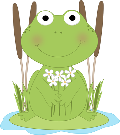 Frog with flowers in a pond.