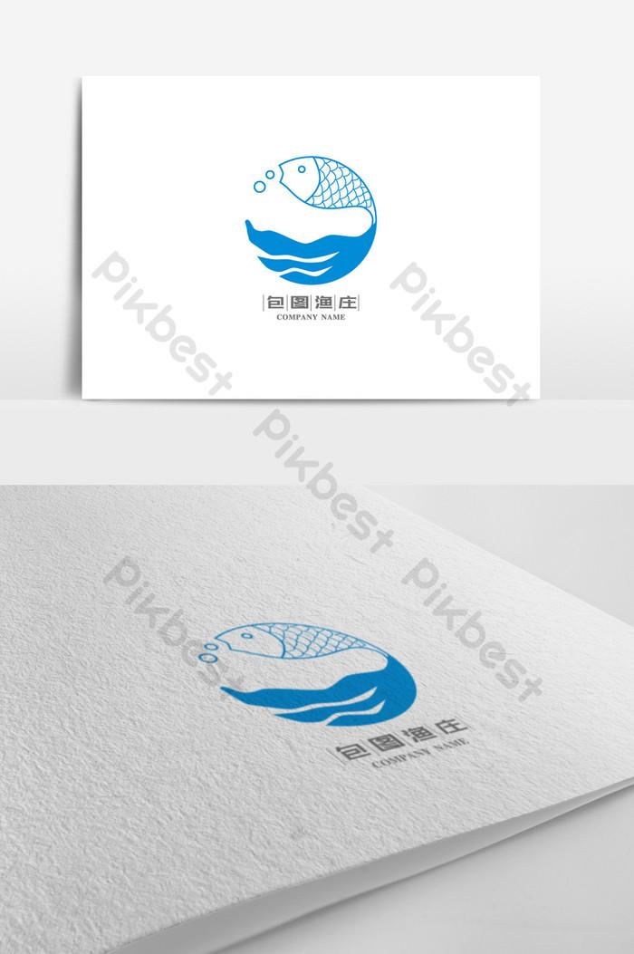 Exquisite creative fish pond fish pond logo design.