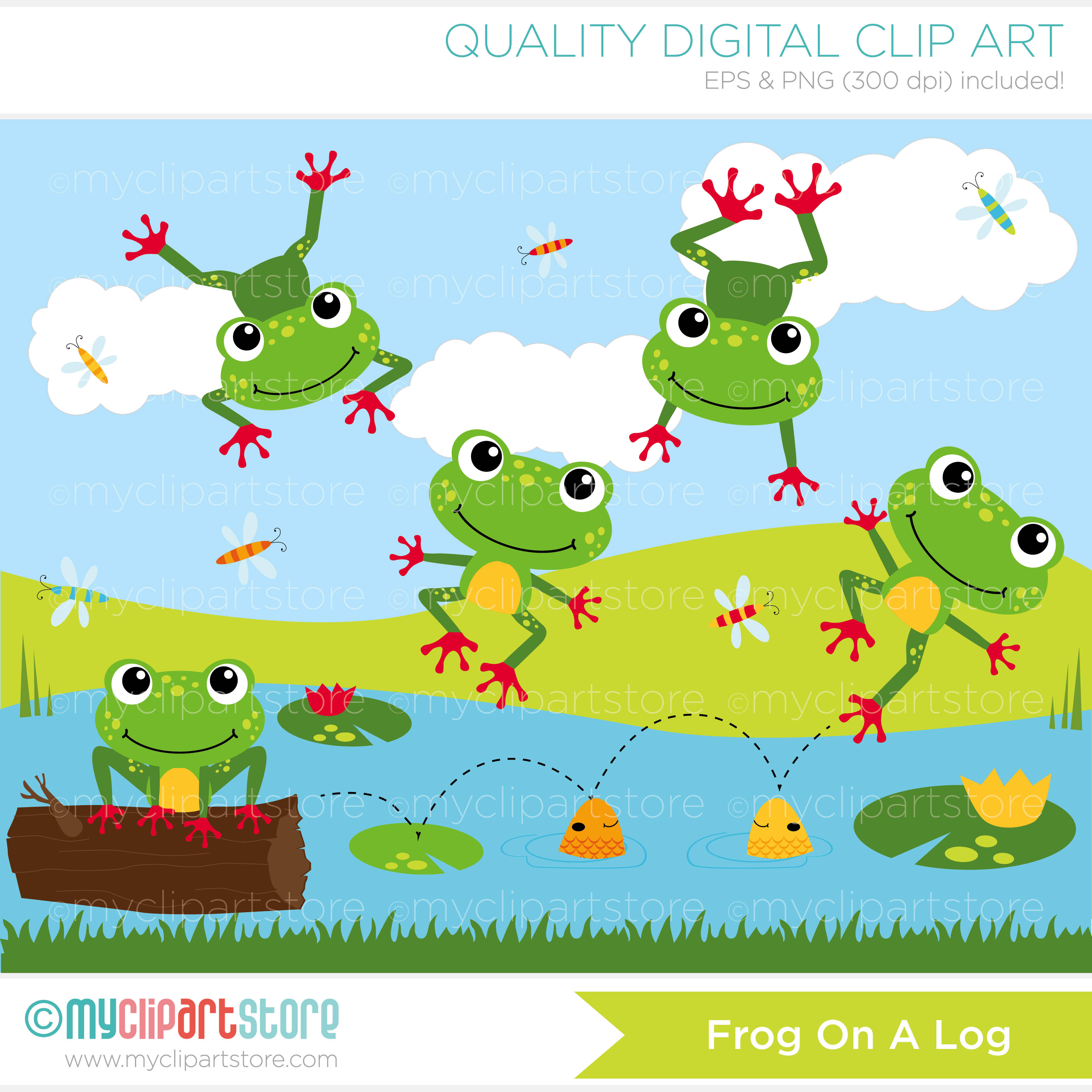Frogs In A Pond Clipart.