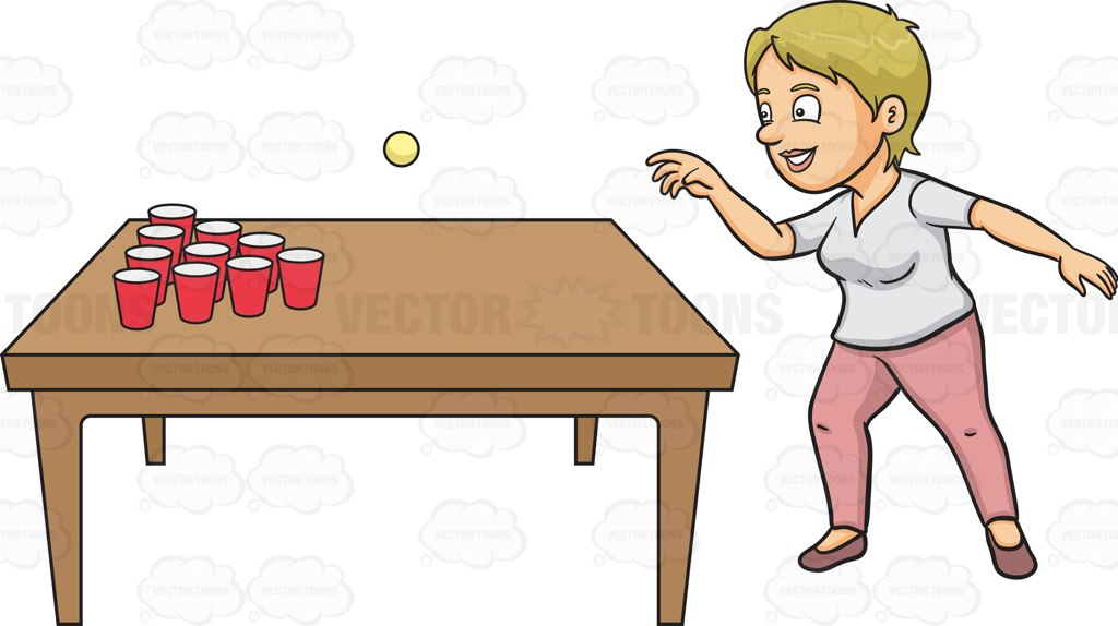 A Woman Playing Beer Pong Cartoon Clipart.