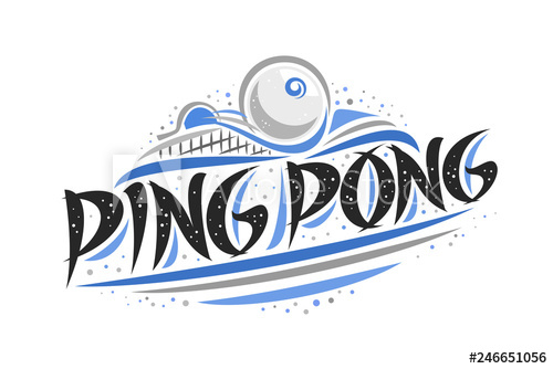 Vector logo for Ping Pong, outline creative illustration of.