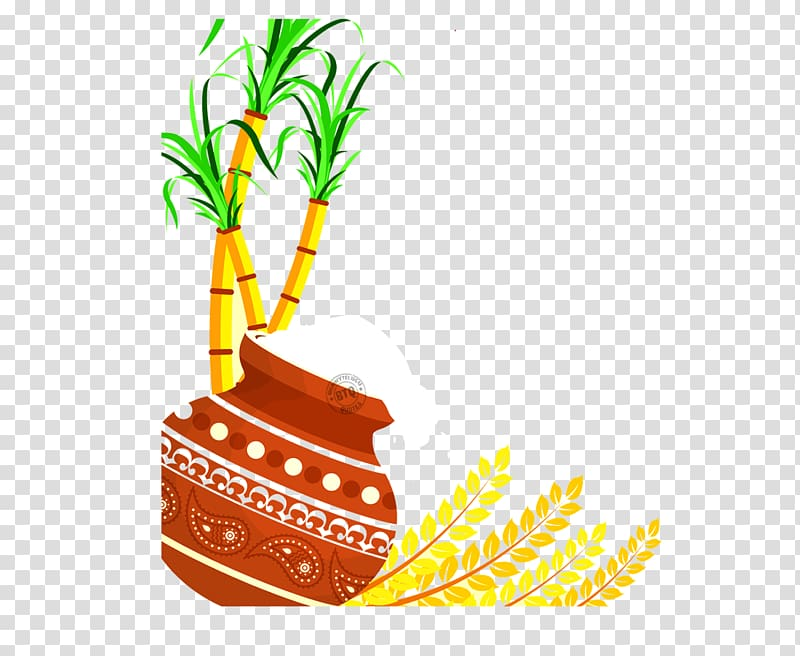Thai Pongal Wish Happiness Makar Sankranti, sugar cane.