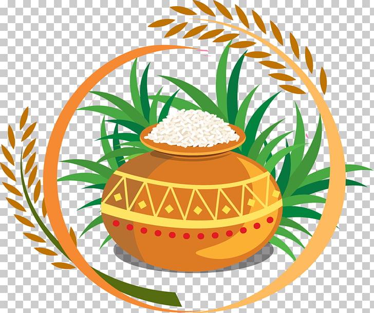 Thai Pongal Harvest festival , Rice grain tank, brown clay.