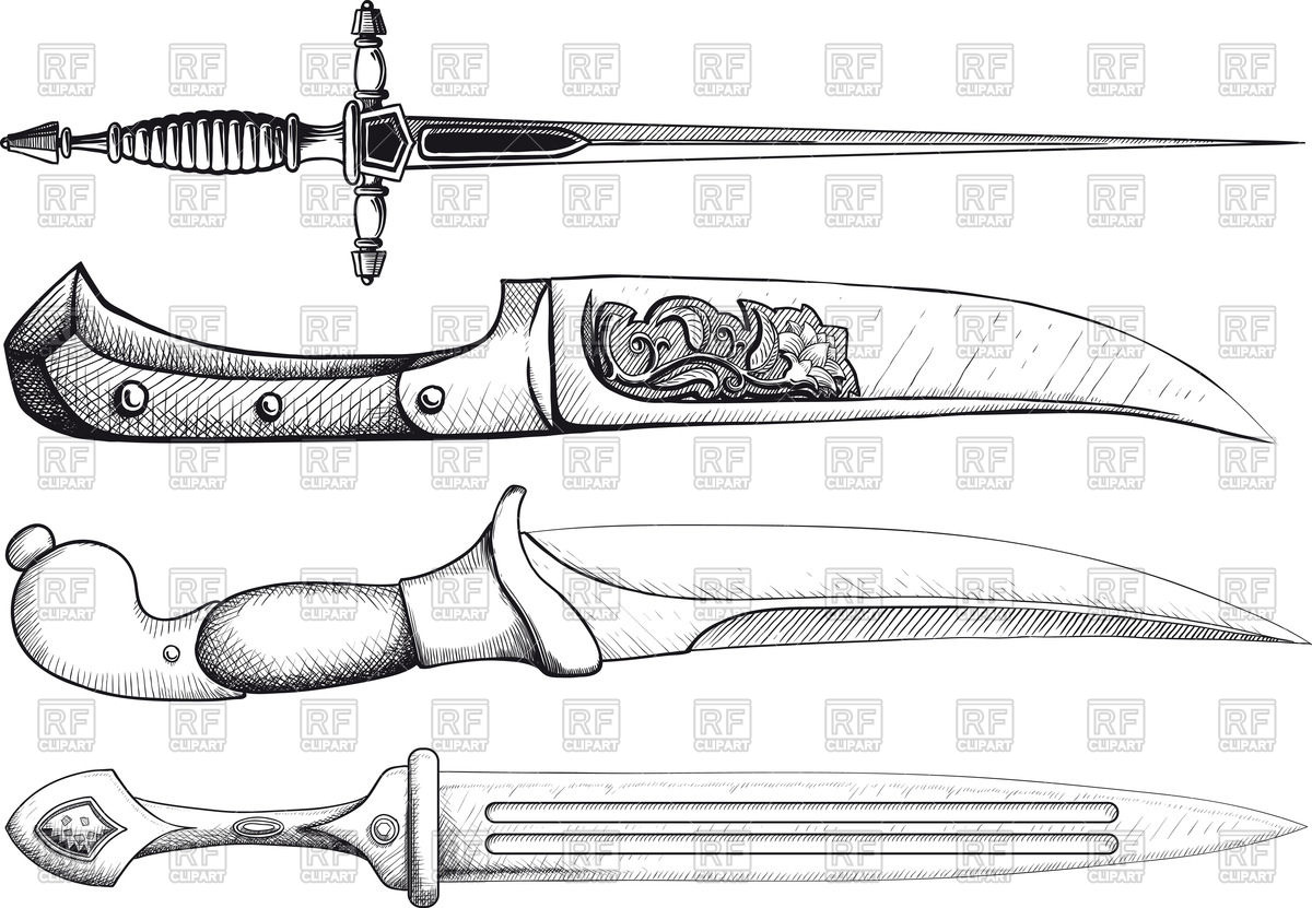 Oriental and European Daggers (poniards) Vector Image #54821.