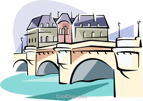 Paris Pont Neuf bridge over the Seine Royalty Free Vector Clip Art.