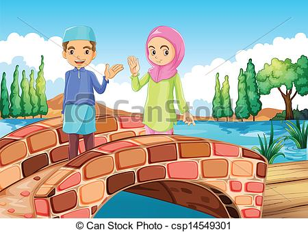 Vector Clipart of A Muslim couple waving at the bridge.