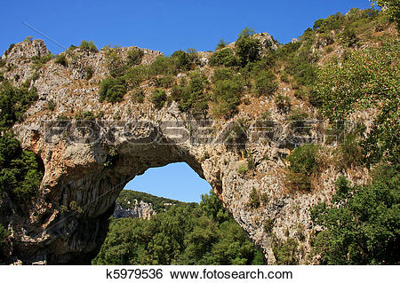 Stock Images of Vallon Pont d'Arc, a natural bridge in the Ardeche.
