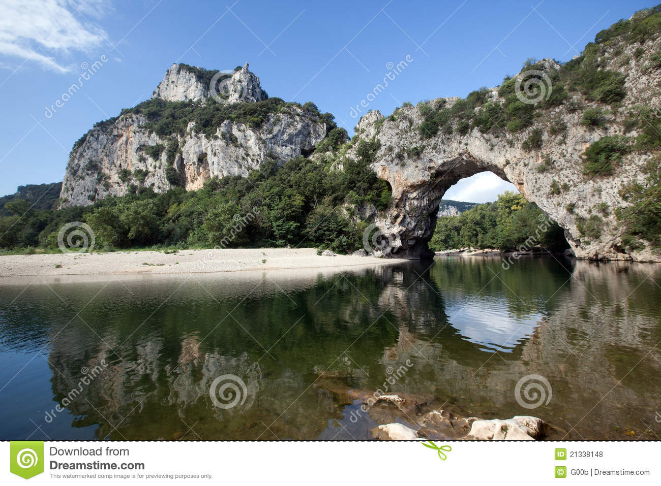 Pont D'arc Arch On Ardeche River Royalty Free Stock Photos.