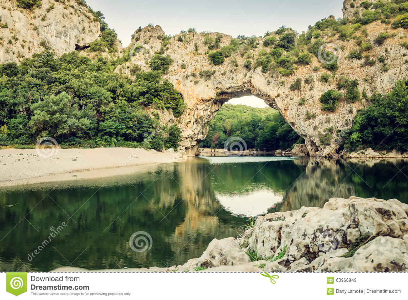 Famous Pont D'arc At The Ardèche In France. Stock Photo.