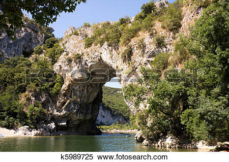 Stock Image of Vallon Pont d'Arc, natural bridge in France.