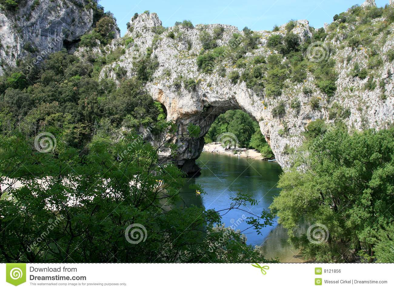 Pont D' Arc, A Natural Arch Bridge In France Royalty Free Stock.