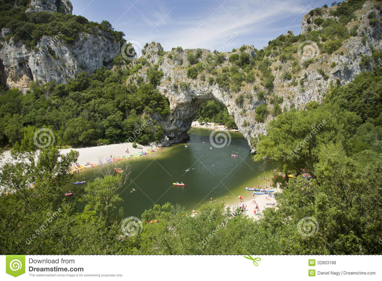 Vallon Pont D'Arc, A Natural Bridge In The Ardeche France Royalty.