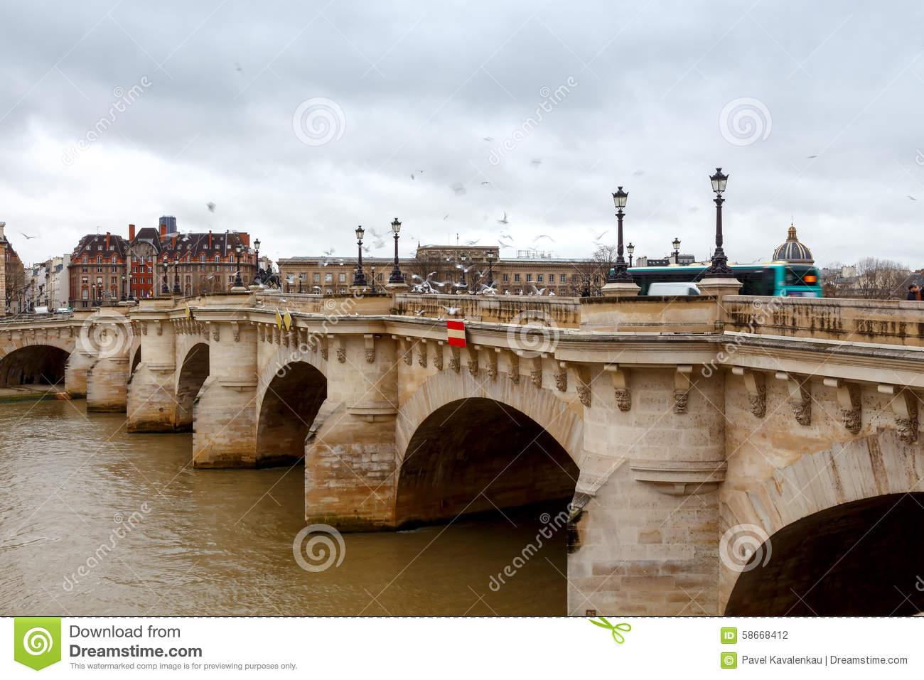 Paris. Pont De La Concorde. Editorial Photography.