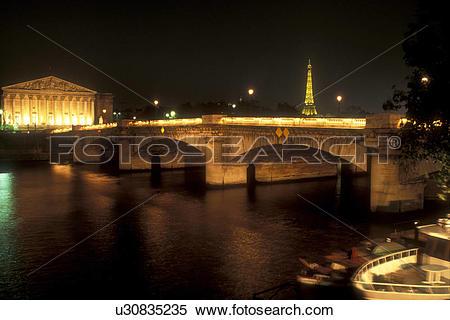Stock Image of Paris, France, Europe, Seine River, The Pont de la.
