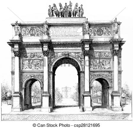 Stock Illustration of Triumphal arch of the Place du Carrousel.