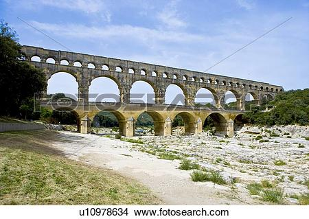 Stock Photo of Pont du Gard Bridge, Roussillon, Languedoc, France.