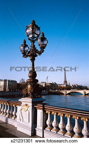 Stock Photography of view of an ornate lamppost installed on a.