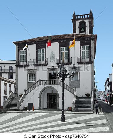 Stock Photo of city hall at Ponta Delgada, capital city of the.