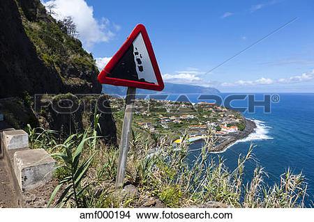 Stock Photo of Portugal, Road sign at Ponta Delgada amf000194.