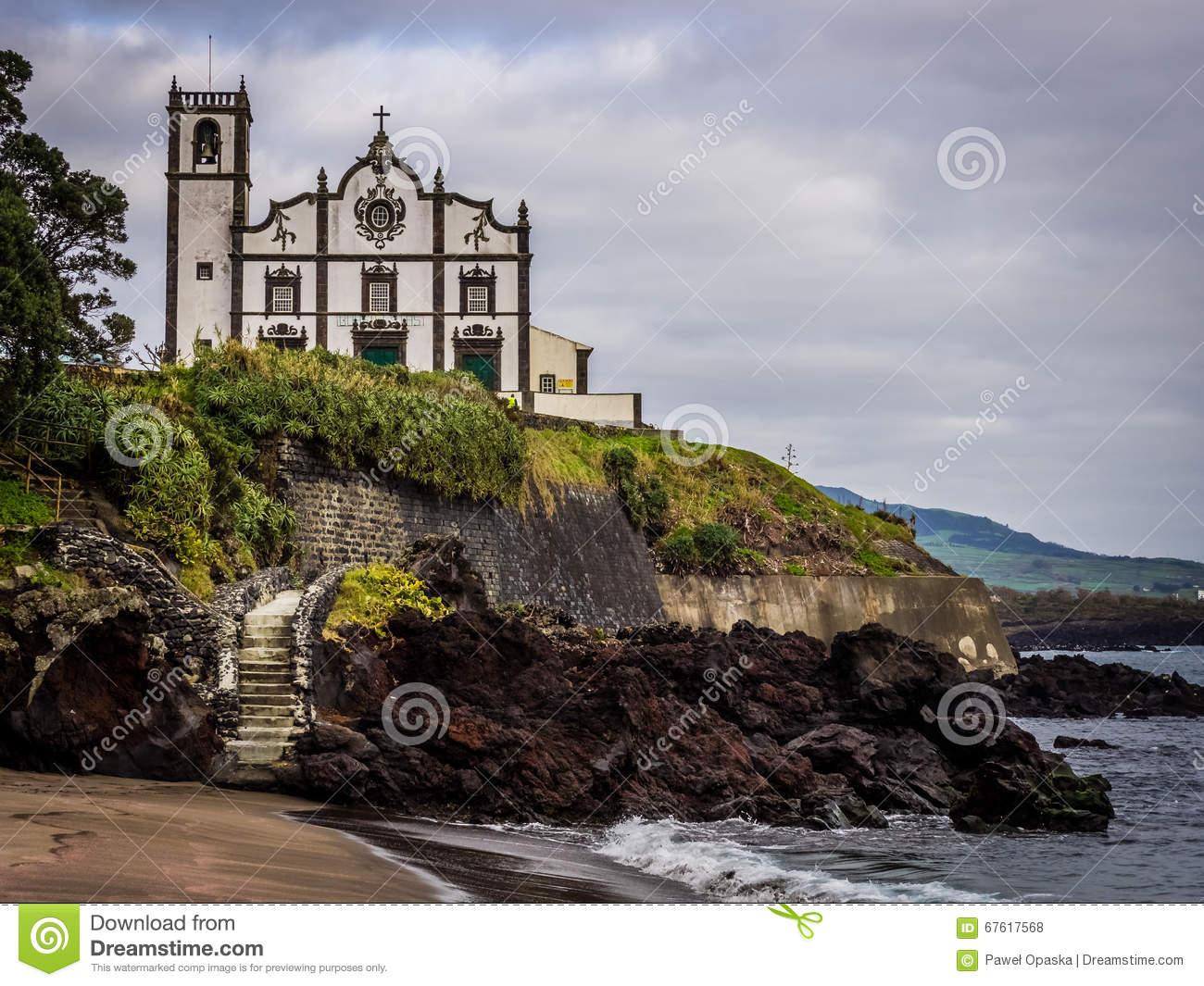 Catholic Church In Ponta Delgada Stock Photo.