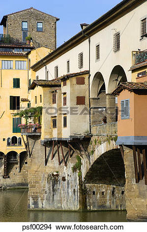 Stock Photo of Italy, Florence, Ponte Vecchio, Buildings on bridge.