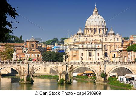 Stock Photographs of Vatican City from Ponte Umberto I in Rome.