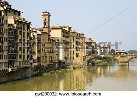 Stock Photo of River in front of buildings, Ponte Alle Grazie.
