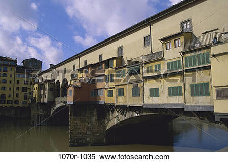 Stock Image of Houses on the canal, Ponte Vecchio, Florence, Italy.