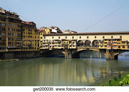 Stock Image of Bridge over a river, Ponte Vecchio, Florence.