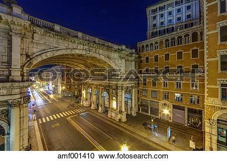 Stock Photography of Italy, Genoa, Shopping street Via XX.