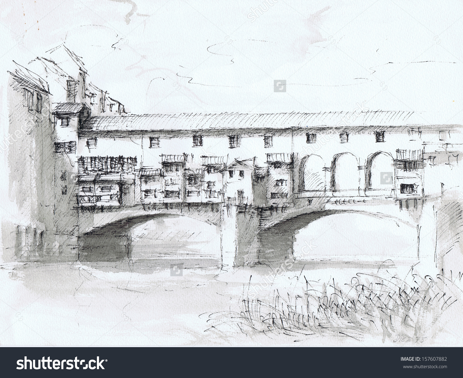 Ponte Vecchio Historical Bridge Florence Hand Stock Illustration.