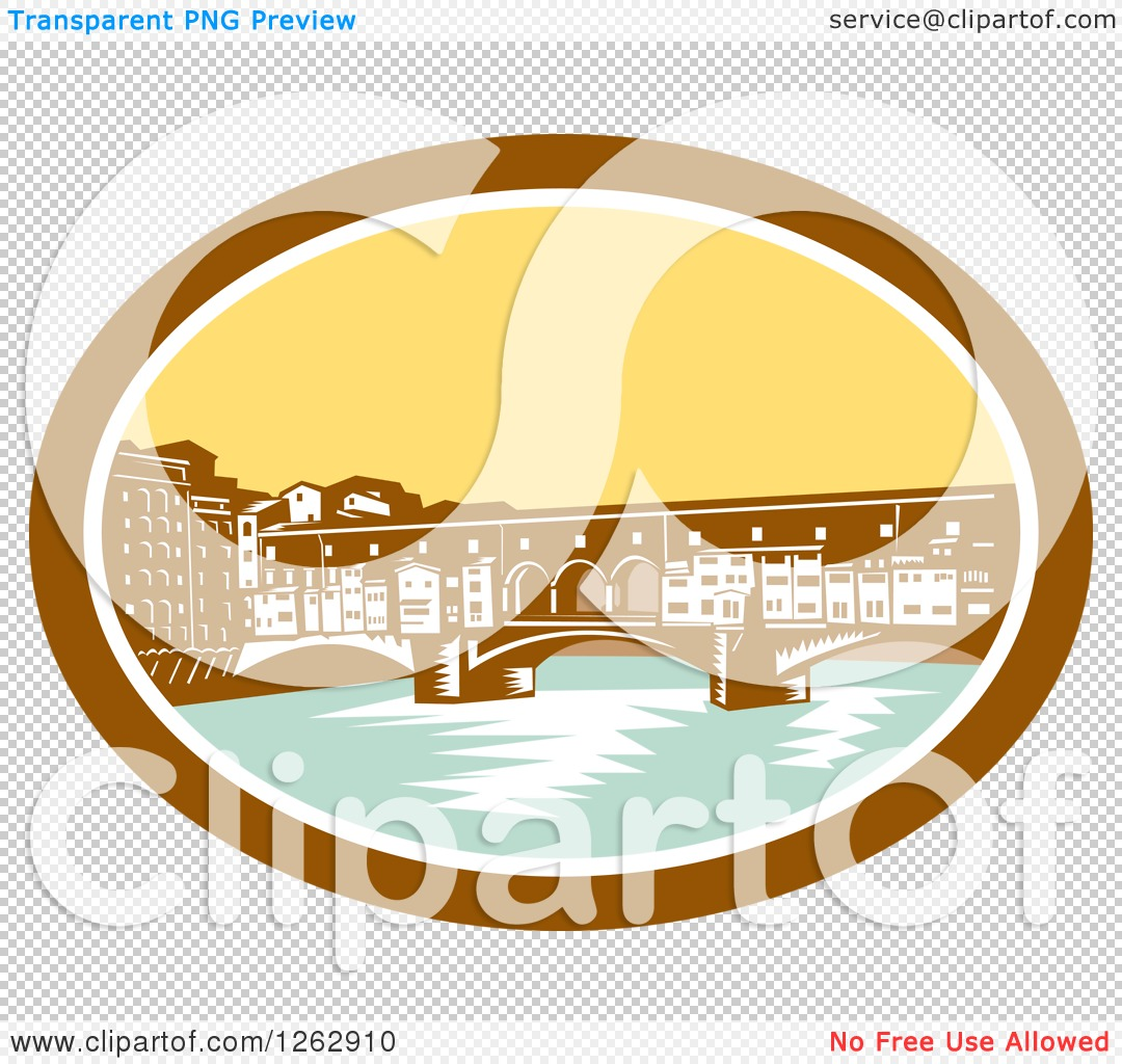 Clipart of a Retro Woodcut View of the Arch Bridge of Ponte.