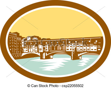Vector Clipart of Arch Bridge Ponte Vecchio Florence Woodcut.