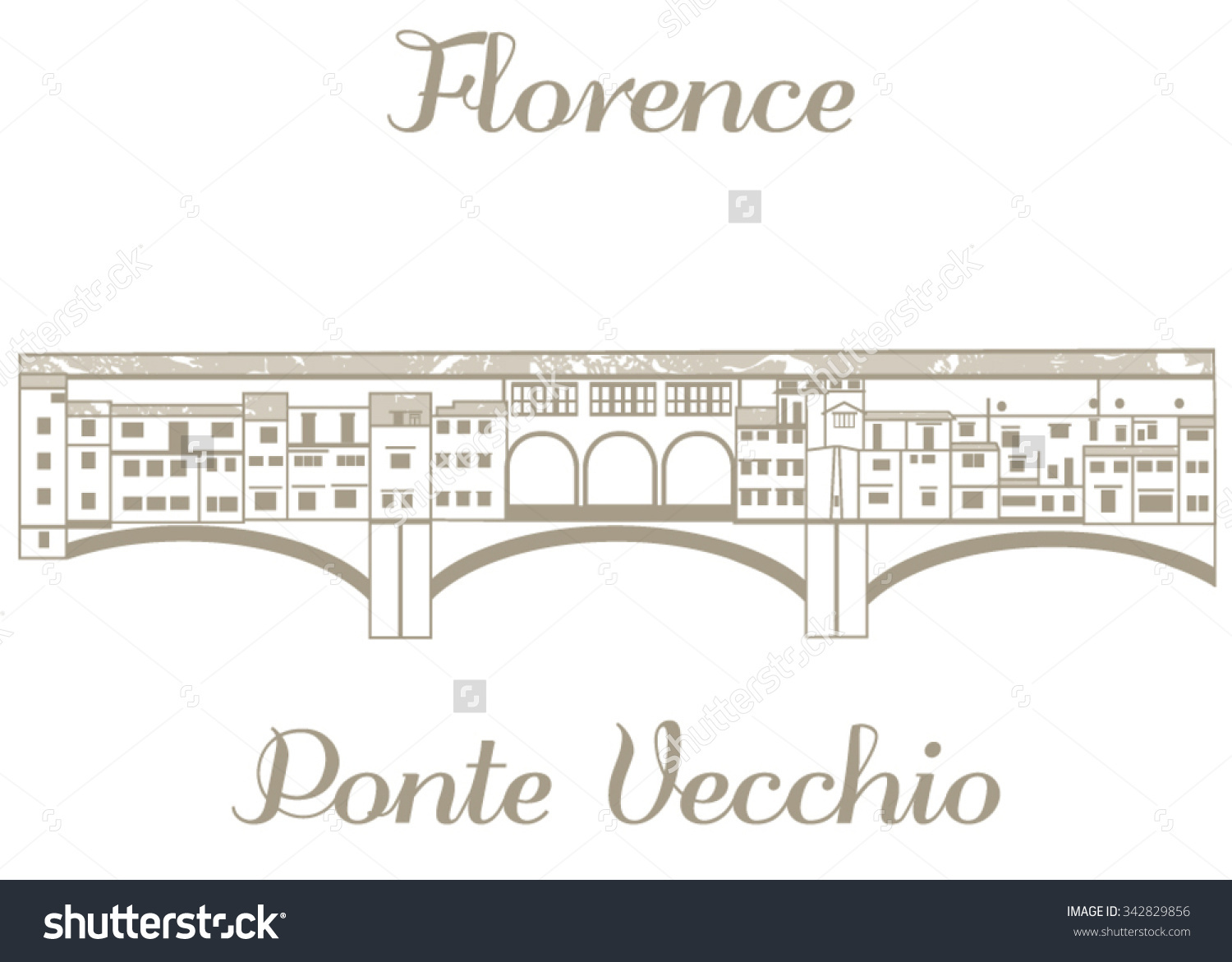 Vector Handdrawn Illustration Ponte Vecchio Stock Vector 342829856.