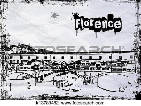 Clipart of Ponte Vecchio k13789482.