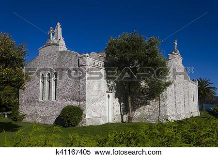 Stock Image of Chapel of the shells, The Toja island, Ria de Arosa.