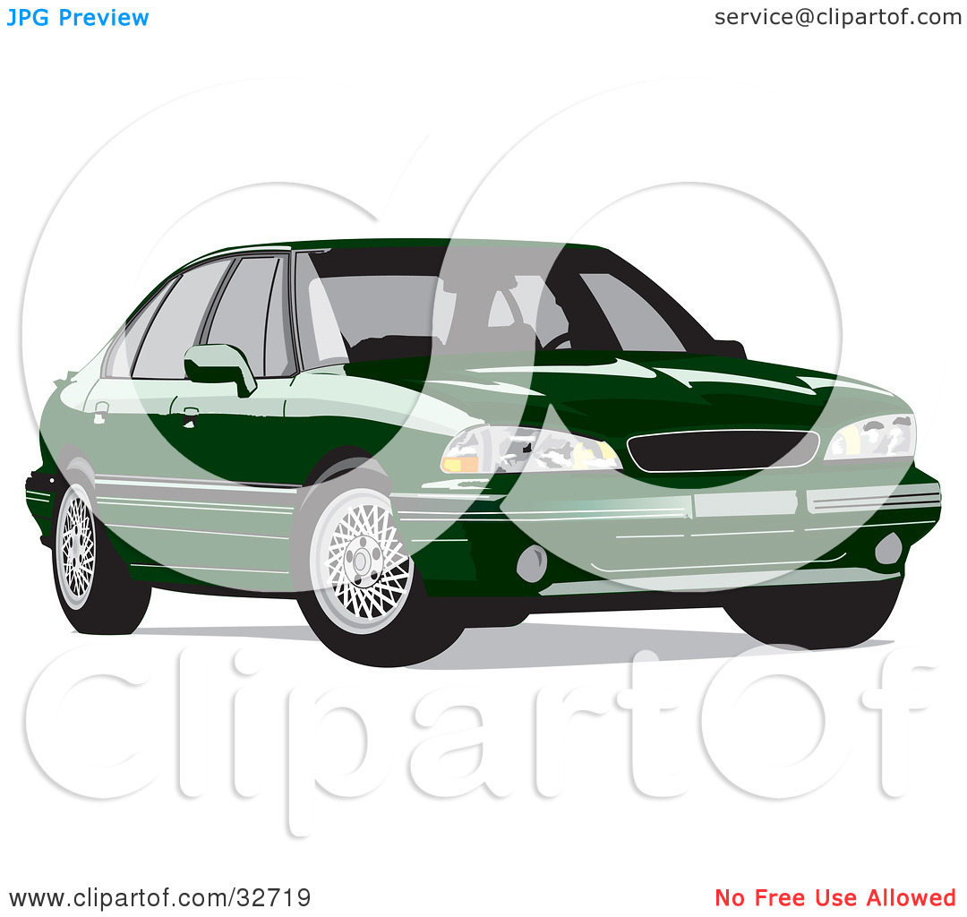 Clipart Illustration of a Parked Green Pontiac Bonneville by David.