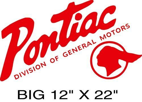 PONTIAC Vintage Indian Decal BIG 12x22 GM Licensed Seller.
